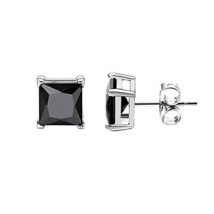 Stud Post Earrings Princess Cut Square Cubic Zirconia Black Tone Plated 925 Sterling Silver