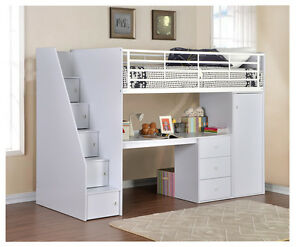 Image Is Loading Wizard Storage High Sleeper Work Station Mini Wardrobe