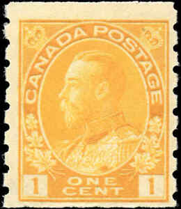 Mint-H-Canada-1c-1923-F-Scott-126d-Coil-King-George-V-Admiral-Stamp