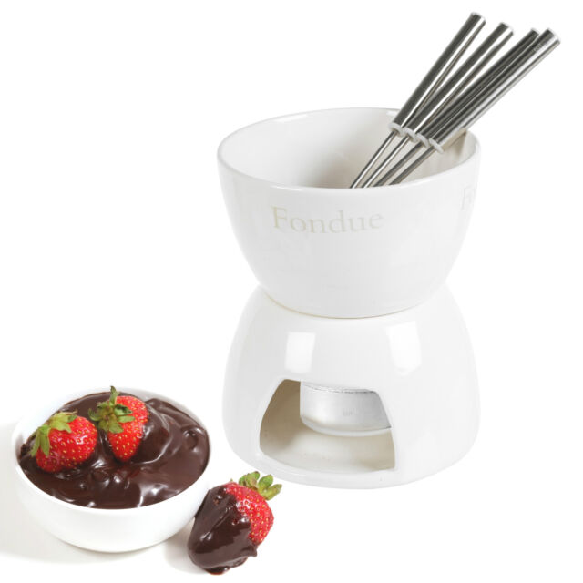 Ceramic Chocolate Or Cheese Fondue Set With Stainless Steel Forks Kitchen Home