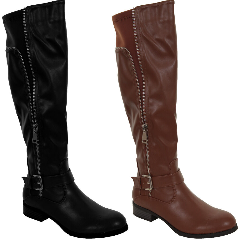 Damenschuhe Faux Leder Zipper Buckle Detail Elastic Niedrig Heel Knee High Stiefel