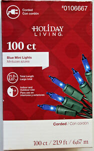 Blue Christmas Lights On Green Cord