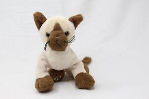 "Ganz Webkinz 8"" Siamese Cat/Kitten Brown/Creamy White Soft Plush HM160 No Code"