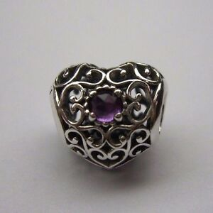 7046fe50f Image is loading PANDORA-FEBRUARY-SIGNATURE-HEART-CHARM-STERLING-SILVER-925-