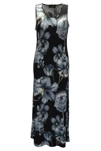 New Womens Dress Plus Size Ladies Maxi Sleeveless Floral Print Long Nouvelle