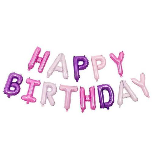 """UK 16/"""" Happy Birthday Bunting Banner Balloons Pink and Purple Heart Foil Baloons"""