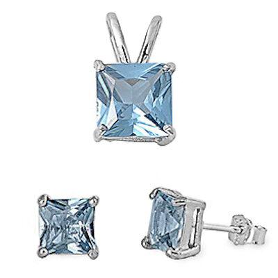GIFT! PRINCESS CUT Aquamarine .925 Sterling Silver Earrings & Pendant Set