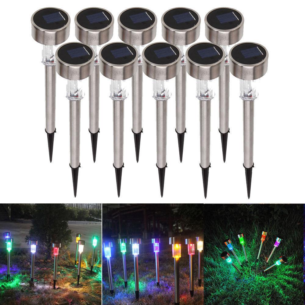 1//10pcs Outdoor Garden Stainless Steel LED Solar Landscape Path Lights Yard Lamp