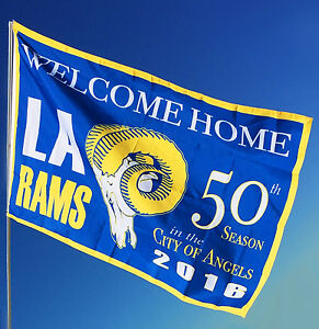 52a7b733940 Los Angeles Rams Flag   Rams Banner Large 3  x 5  - NEW LOT of 2 ...