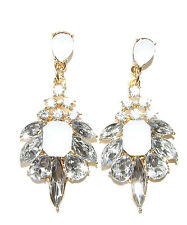 Gold Silver White Faux Opal Diamante Earrings Drop Stud Chandelier 1920s 1395