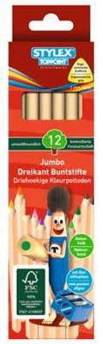 3x 12 Jumbo Dreikant Buntstifte Naturholz 36 3 Anspitzer