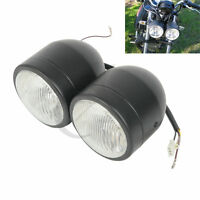 Twin Round Black Motorcycle Headlight For Street Fighter Cafe Racer Dirt Bikes