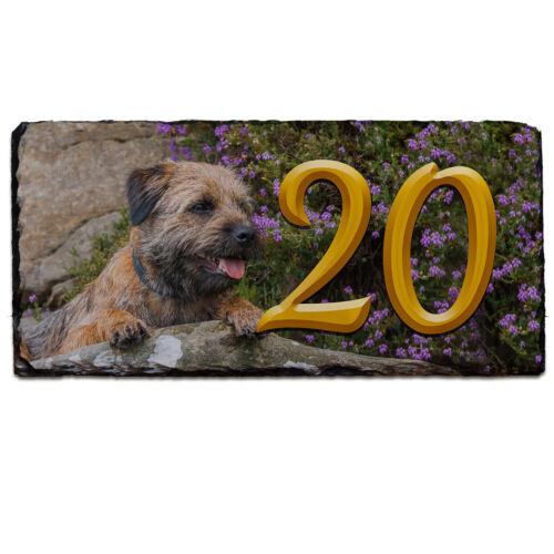Border Terrier House Number Slate Name Gate Sign Plaque Door Personalised SL09