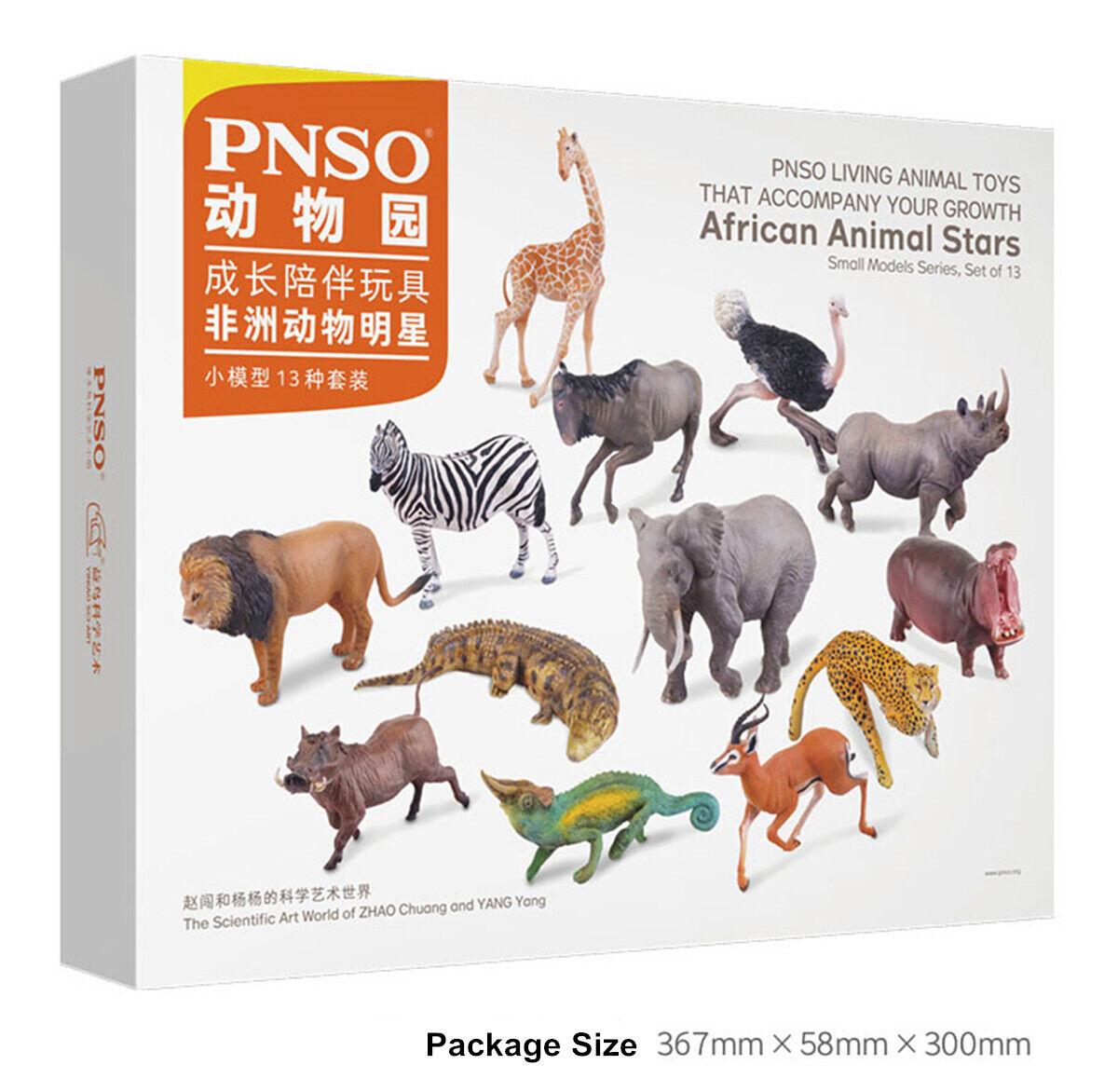 PNSO 13Pcs African Animals Model Lion Zebra Antelope Figure Toy Decor Kid Gift