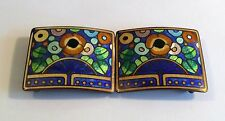1930s Czech Art Deco 2-part enamelled buckle w flowers & leaves