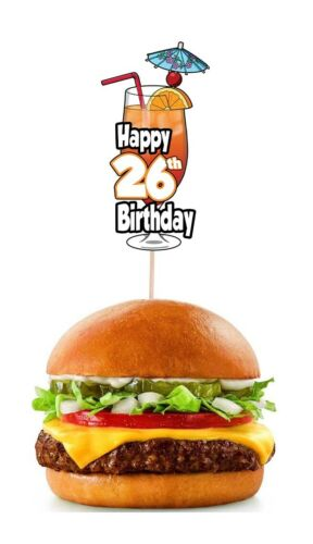 26th Birthday Cocktail Party Food Cup Cake Picks Sticks Decorations Toppers