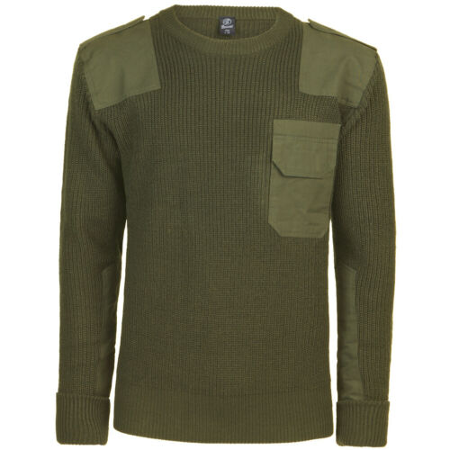 Brandit BW Pullover Mens Casual Work Military Sweater Warm Knitted Hiking Olive