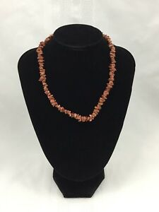 SPARKLY-BROWN-STONE-BEADED-NECKLACE-JAGGED-EDGE-DIFFERENT-SHAPED-BEADS-16-INCHES