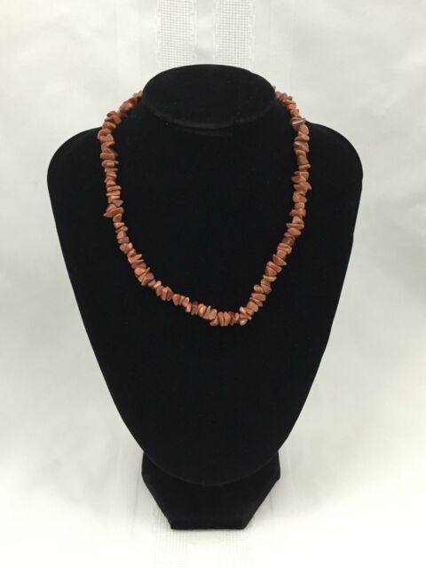 SPARKLY BROWN STONE BEADED NECKLACE-JAGGED EDGE DIFFERENT SHAPED BEADS-16 INCHES
