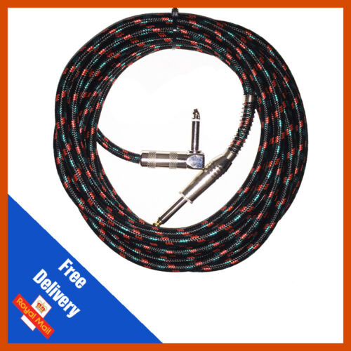 Pulse Guitar Lead straight Jack-Right Angle Black Cloth Design Braided Cable 5m