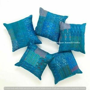 Set of 5 Turquoise Silk Patola Patchwork Cushion Cover Home Decor Pillow Cases