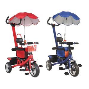 Kids Trike Push Along Tricycle Blue Red Parasol Parent
