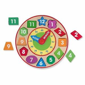 Melissa-amp-Doug-Forma-Variedad-Reloj-Madera-Juguete-Educativo-Parque-Infantil