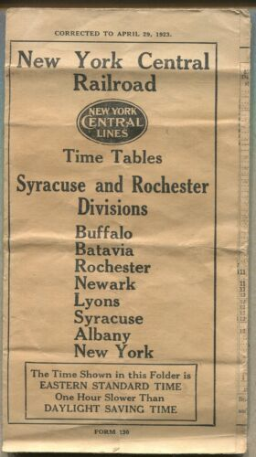 1923 NEW YORK CENTRAL RAILROAD TIME TABLE