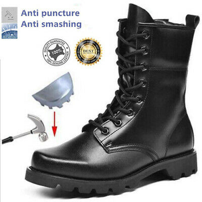 Men Leather Army Patrol Combat Boots Tactical Safety Toe Steel Security  Military