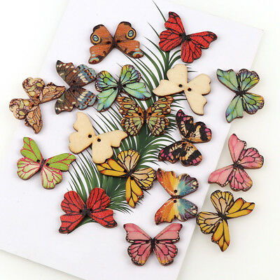 50PCS Mixed Bulk Cartoon Butterfly Wooden Sewing Buttons Scrapbooking 2Holes DIY