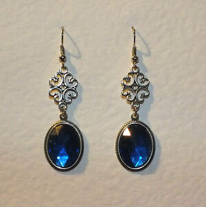 LACY-FILIGREE-VICTORIAN-STYLE-BLUE-CRYSTAL-DARK-SILVER-PLATED-EARRINGS