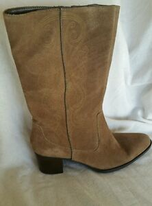 7832dd07e55 Details about Bandolino NEW 8.5 M Light Brown suede Leather mid calf Boots  heel