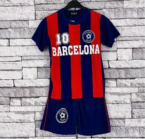 BOYS FOOTBALL KIT SHORT SET PRINTED  SHORT /& TOP 2 TO 13 YEAR