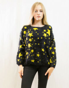 Lady/'s Knitted Fluffy snowflake Christmas Yellow blue green Jumper Top Knitwear