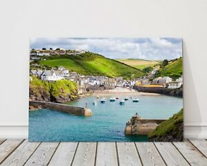 Port-Isaac-harbour-Cornwall-canvas-print-framed-picture-wall-art-doc-martin