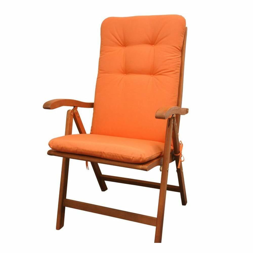 Design Sitzauflage Orange Hochlehner für Gartenmöbel Polsterauflage Sitzpolster