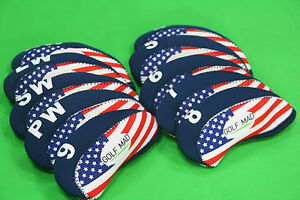 10-Golf-Mad-Iron-Headcovers-USA-Flag-for-Ping-Titleist-Cobra-ONLY