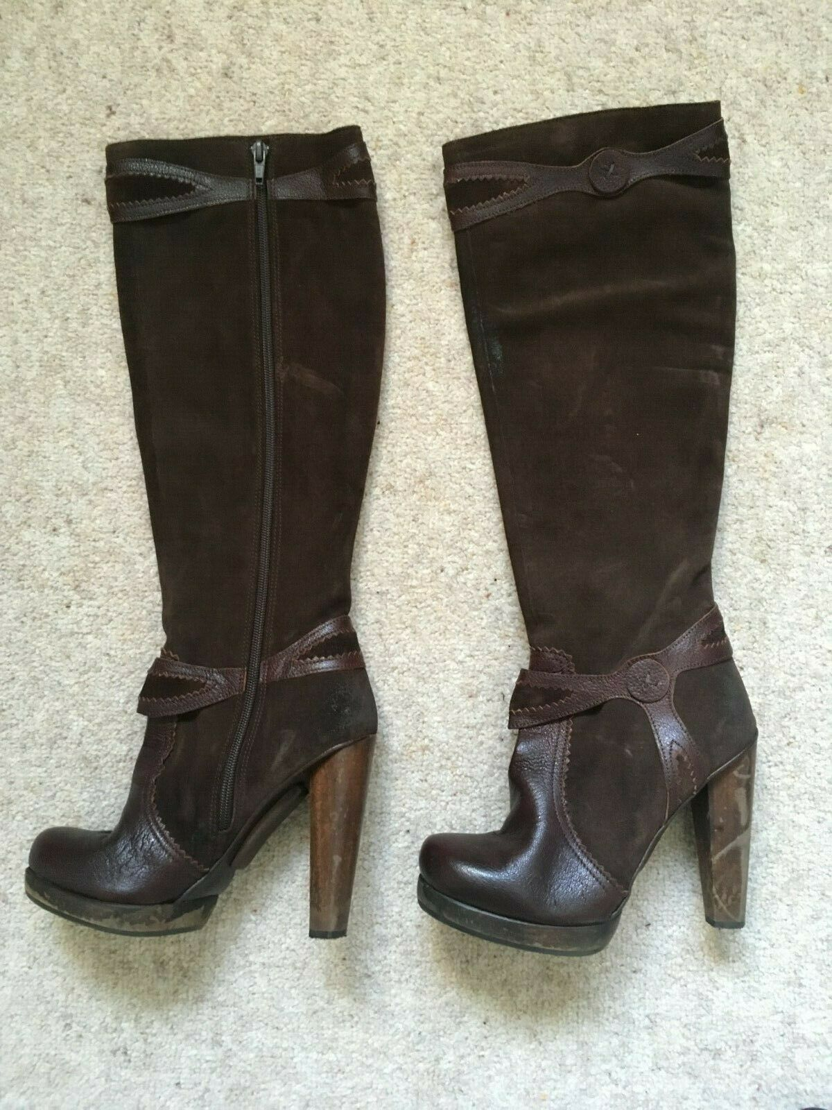 HARLOT BROWN LEATHER SUEDE HIGH HEELED BOOTS 4 (37) RARE