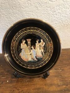 "Vintage DAKAS Keramik Greece 24K Gold.. . Decorative Plate 7 1/4"""