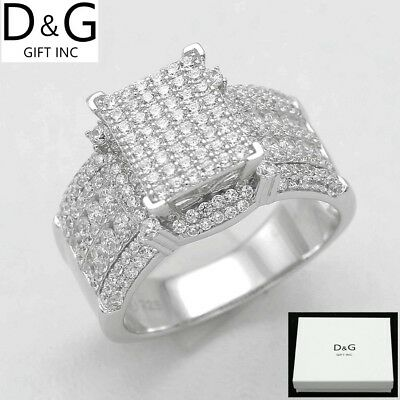 DG Women/'s 925 Sterling Silver.Wedding ICED-OUT CZ.Eternity,Rings,6 7 8 9 BOX