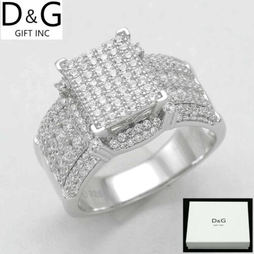 DG Women's 925 Sterling Silver.Wedding ICED-OUT CZ Eternity Rings 6 7 8 9 BOX