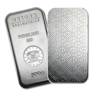 5006. One piece 500 gram 0.999 Fine Silver Bar Geiger Security Line Series Lot 5006