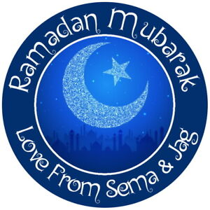 EID MUBARAK PERSONALISED GLOSS RAMADAN CELEBRATION PARTY STICKERS