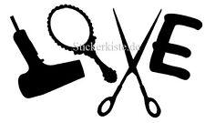 2 Aufkleber Hairstyling SChere, Kamm Fön Auto Sticker Decal 15 cm Tuning JDM
