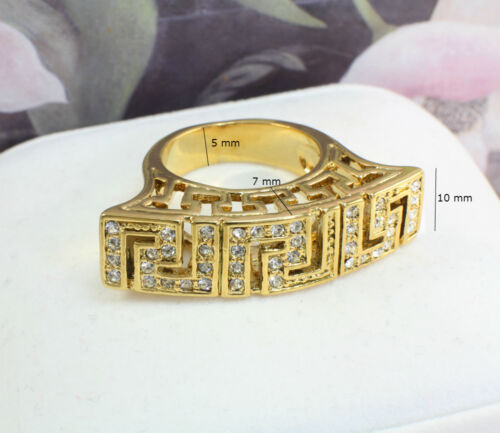8 10 Size US 7 9 Greek Key Design Ring,18k Gold GF with Crystals