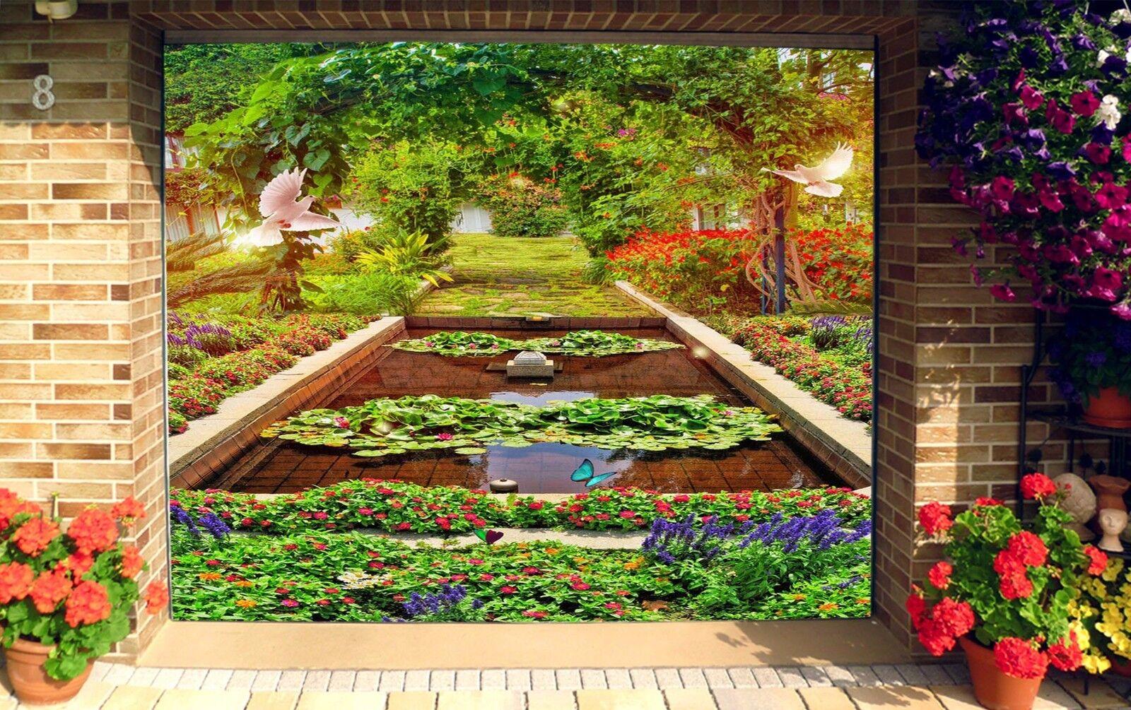 3D Flowers Pond Birds 4 Garage Door Murals Wall Print Wall AJ WALLPAPER UK Lemon