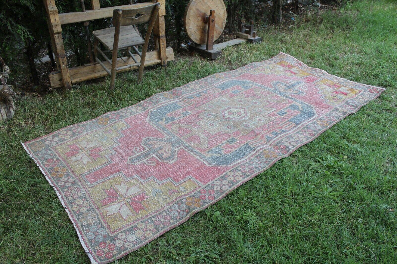 Vintage Handmade Turkish Oushak Area Rug 9'x4'2