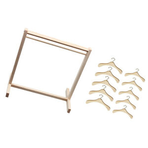 Wooden-Garment-Rack-Organizer-amp-1-3-1-4-BJD-Dolls-Clothes-Hangers-Metal-Hook