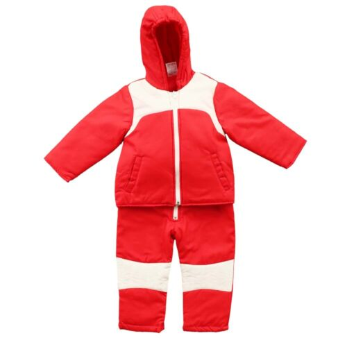 2PC Insulated Winter Padded Kids Snow Suit Girls Boys Baby All-In-One Ski Red