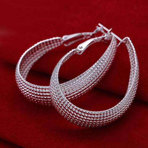 Livraison gratuite Wholesale sterling solid silver Fashion Egg Hoop Boucles d/'oreilles xlse 064